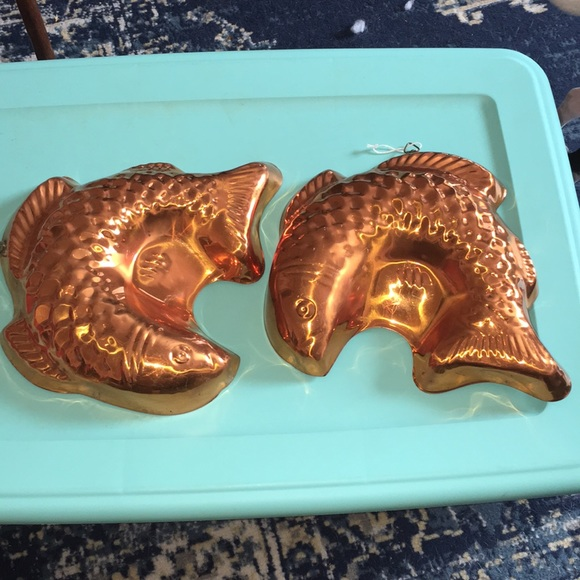 Firm! VintaGE FiSH copper cake jello molds kitchen